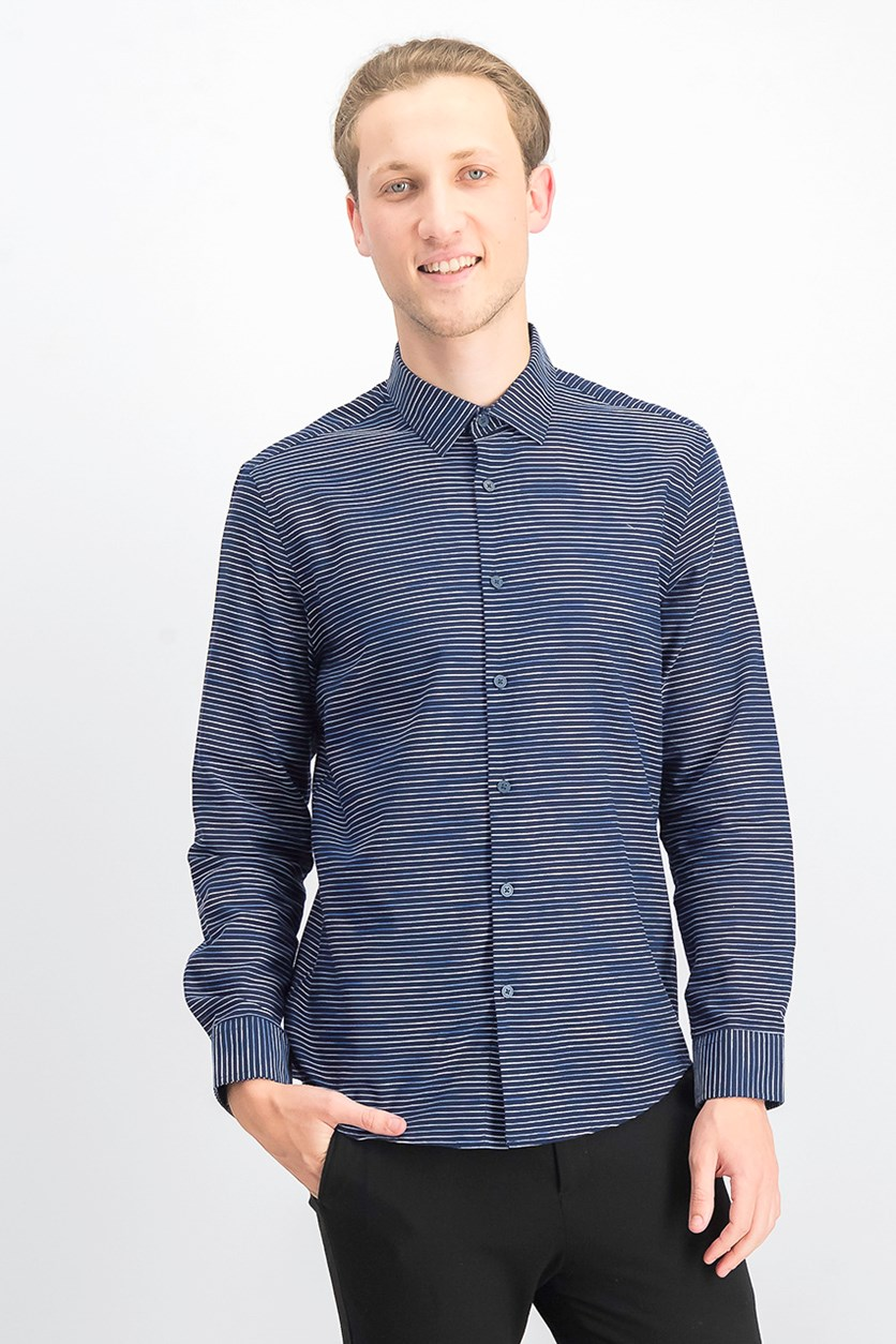 Men's Horizontal Dobby Shirt, Blue Midnight