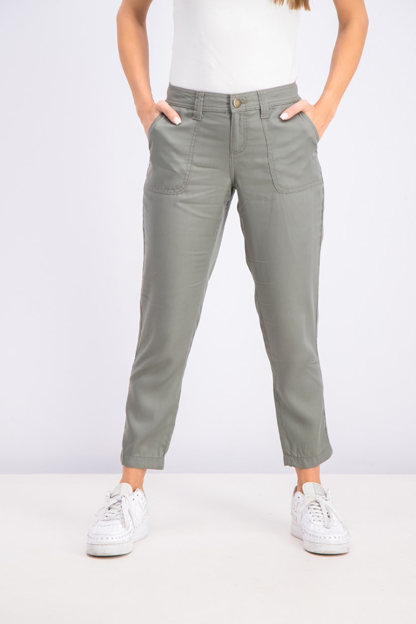Women's Petite Tencel Tapered Pants, Sage/Dark Grey