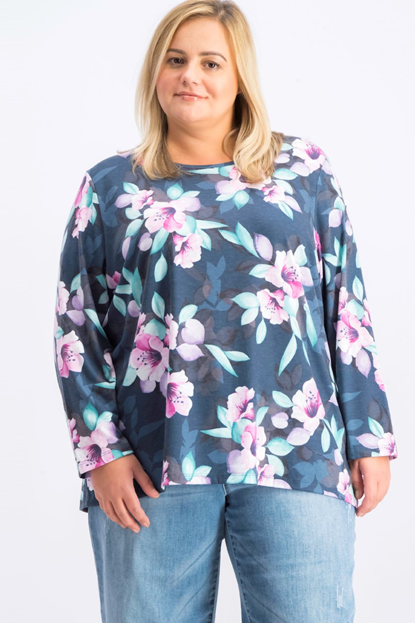 Women's Plus Size Printed Keyhole-Back Top, Pacific Teal