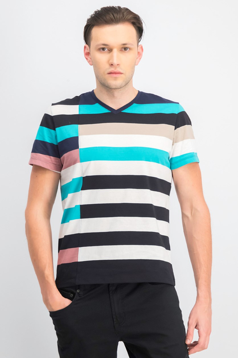 Men's Colorblocked Stripe V-Neck T-Shirt, Bright White/Navy/Mauve