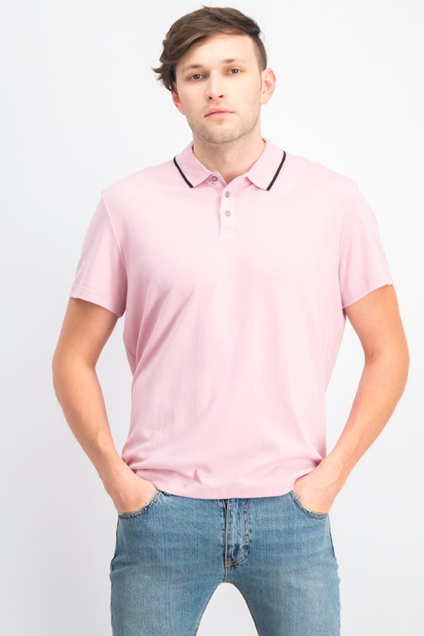 Men's Regular-Fit Tipped Polo, Toasted Mauve