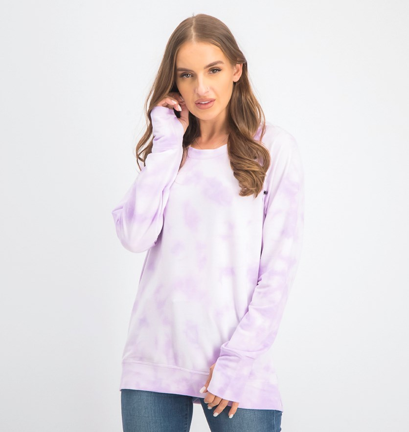 Women's Grommet Tie-Dye Pullover Top, Frosted Lavender