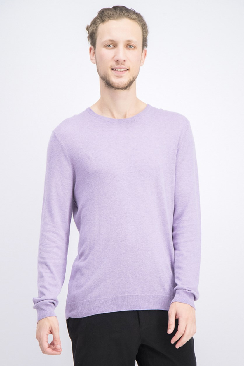 Men's Crew Neck Casual Sweater, Lilac Wine