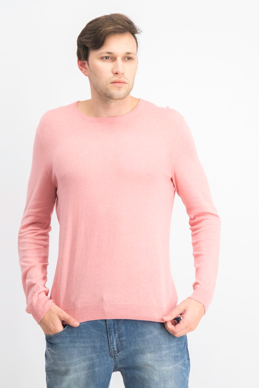 Mens Crew Neck Casual Sweater, Dolores Blush