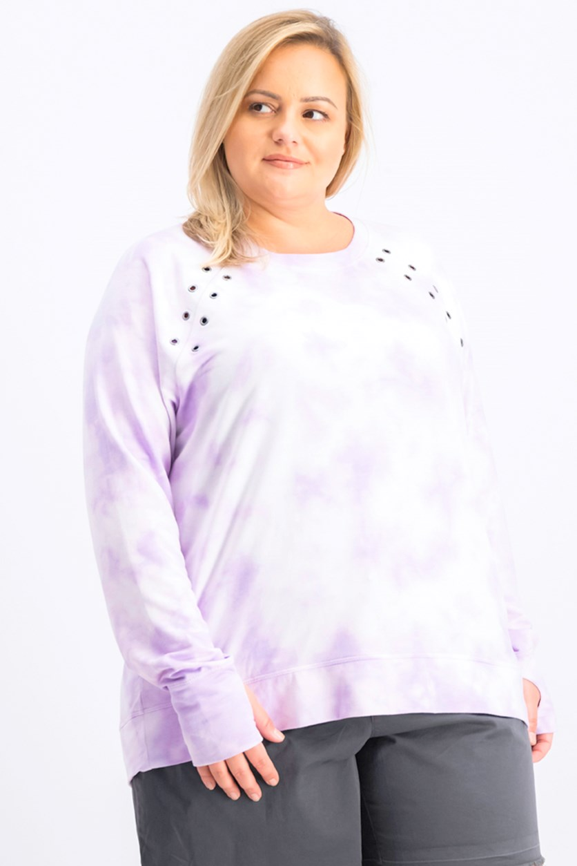 Women's Tie Dye Sweater, Frosted Lavender