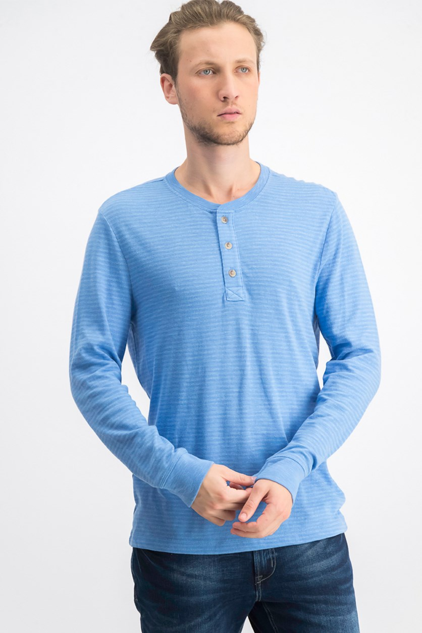 Men's Striped Speckled Henley, Surf Blue