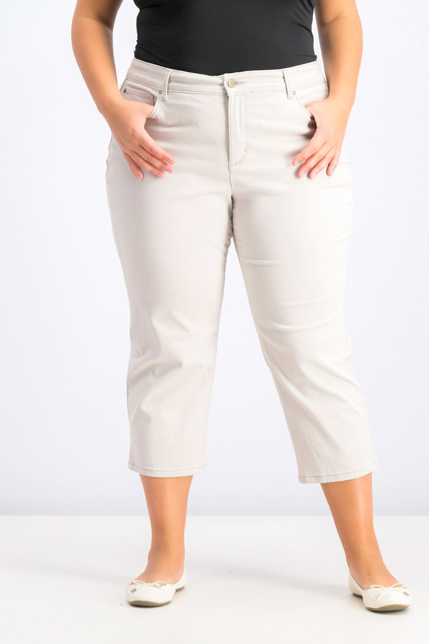 Women's Plus Size Capri Pants, Creme Stone