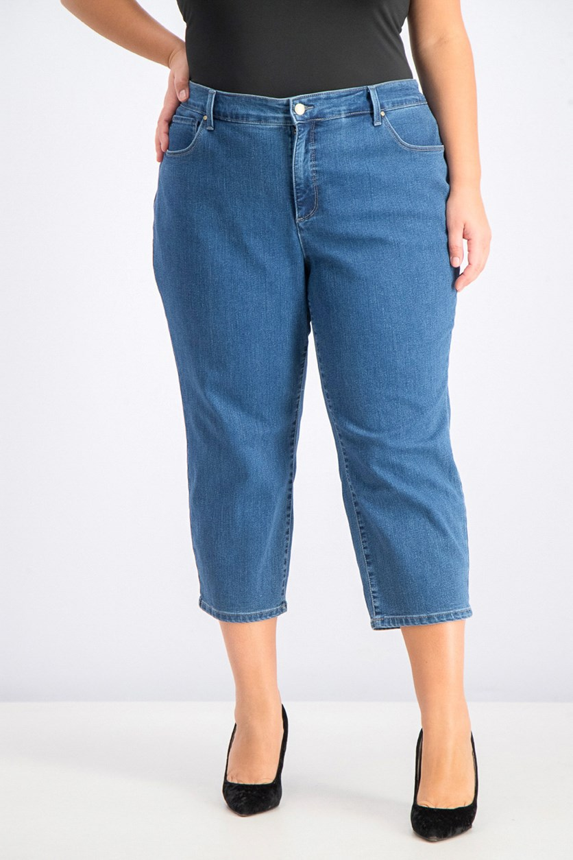 Women's Plus Size Capri Jeans, Lyon Wash