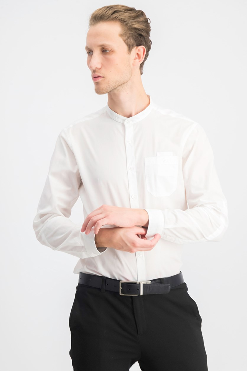 Men's Band-Collar Utility Shirt, White