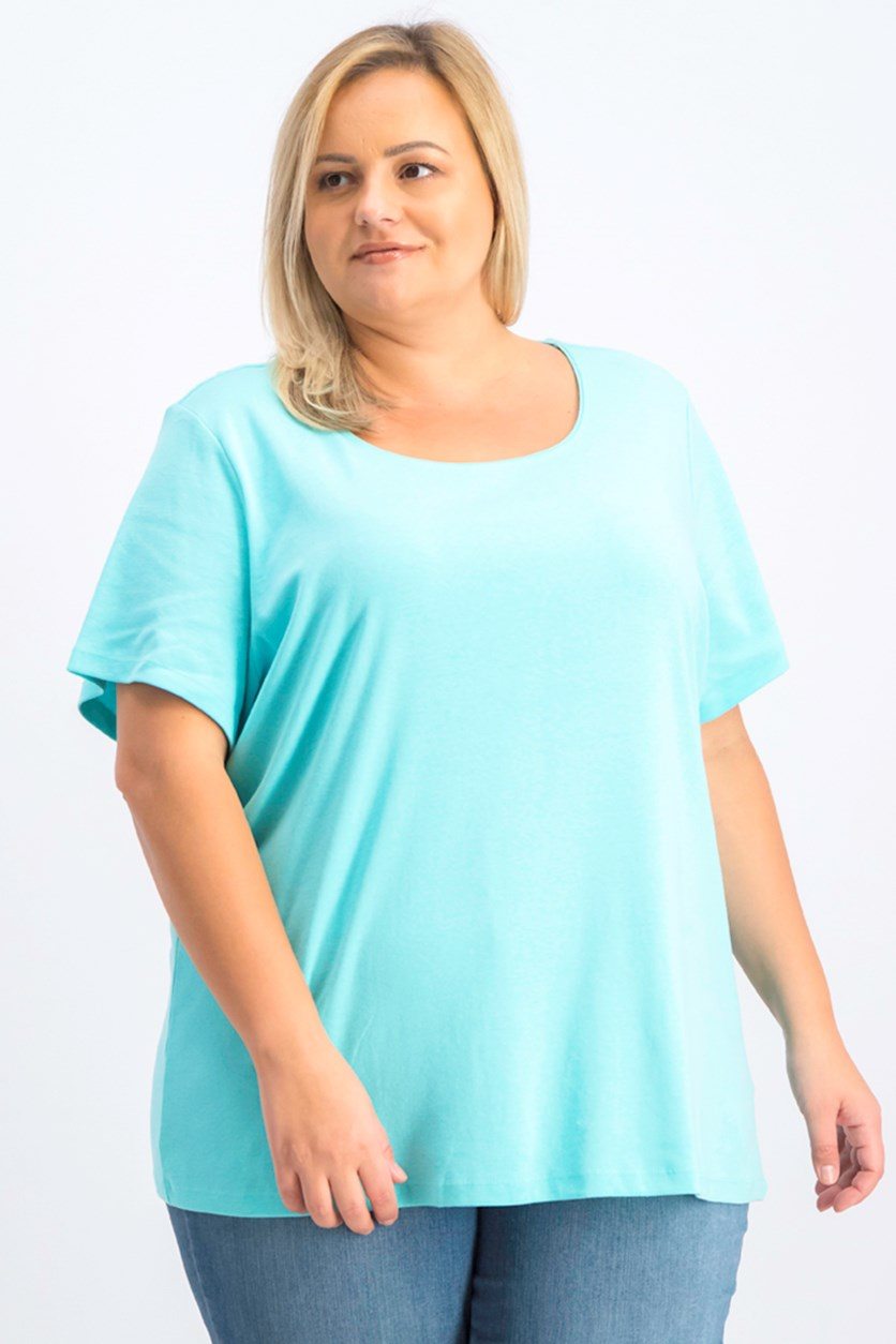 Women's Plus Size Cotton Scoop-Neck Top, Turquoise