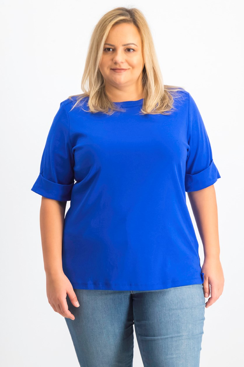 Women's Plus Size Boat Neck Top, Ultra Blue