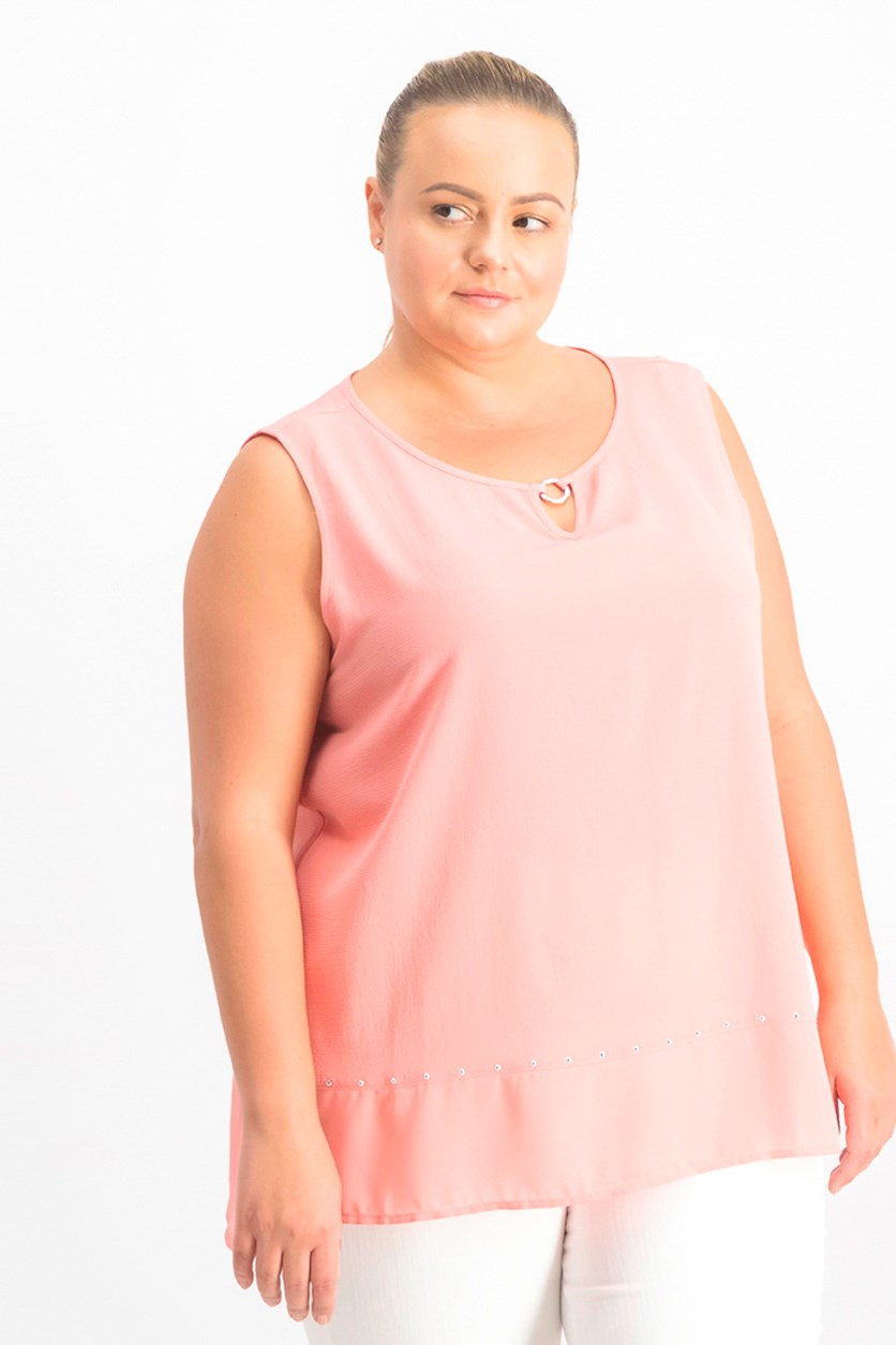 Women's Plain Sleeveless Top, Coral Shell