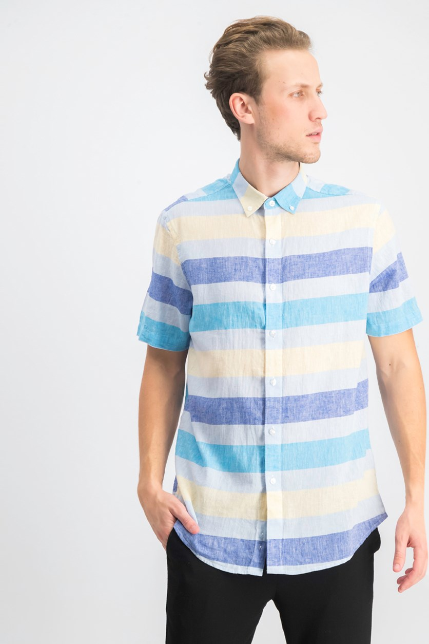 Men's Wide Striped Linen Blend Shirt, Cosmic Turquoise