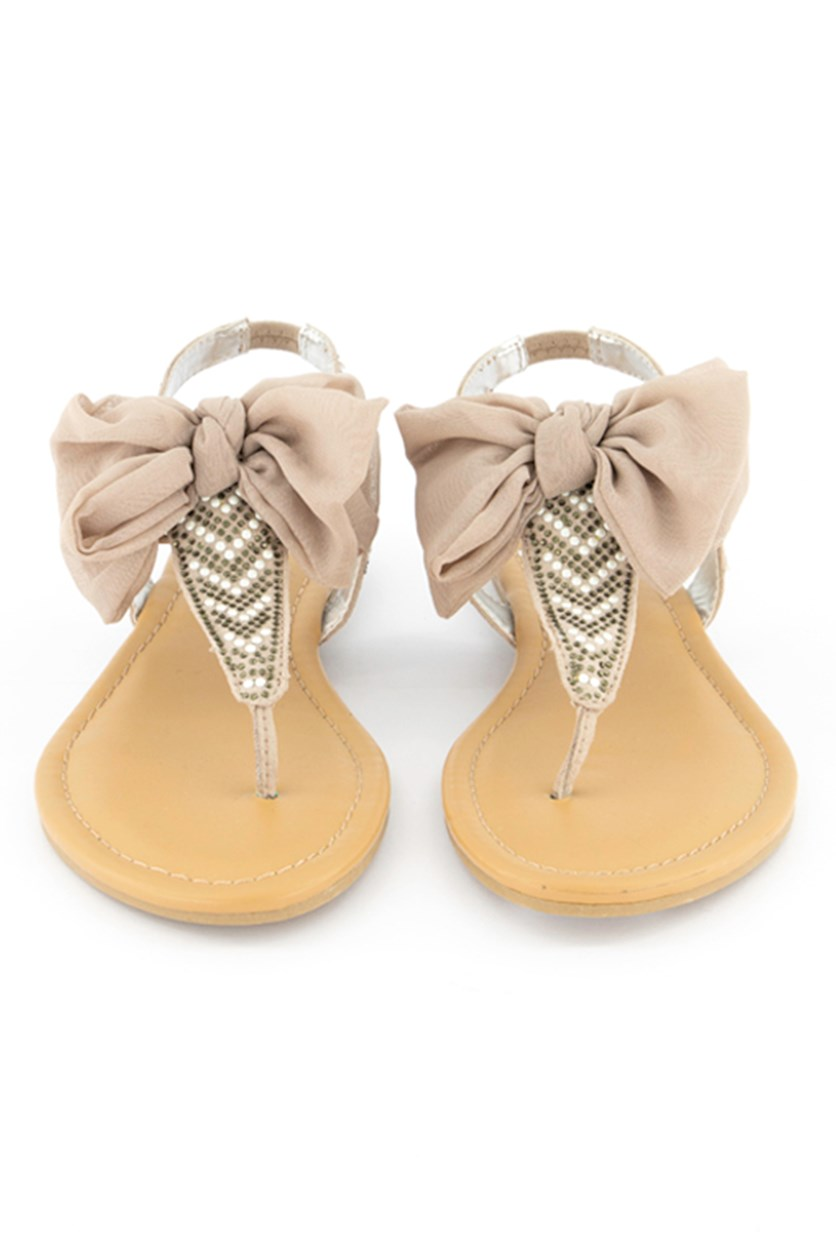 Women Swan Thong Sandals, Taupe