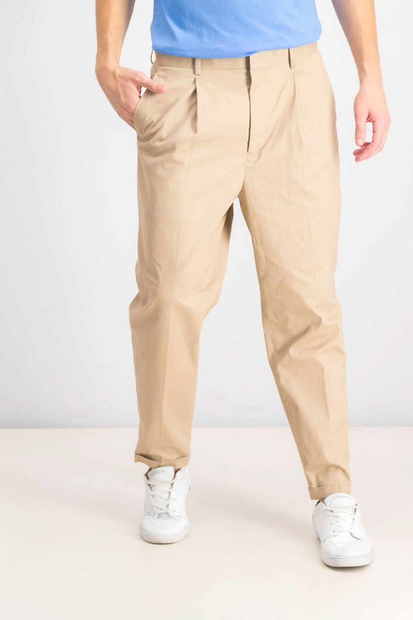 Men's Tapered Pleated Chinos, Almond Tree