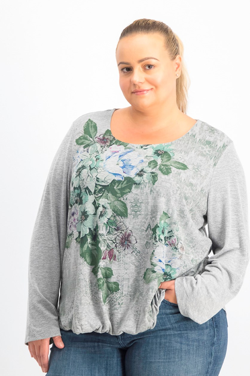 Plus Size Floral-Graphic Bubble Top, Binding Florals