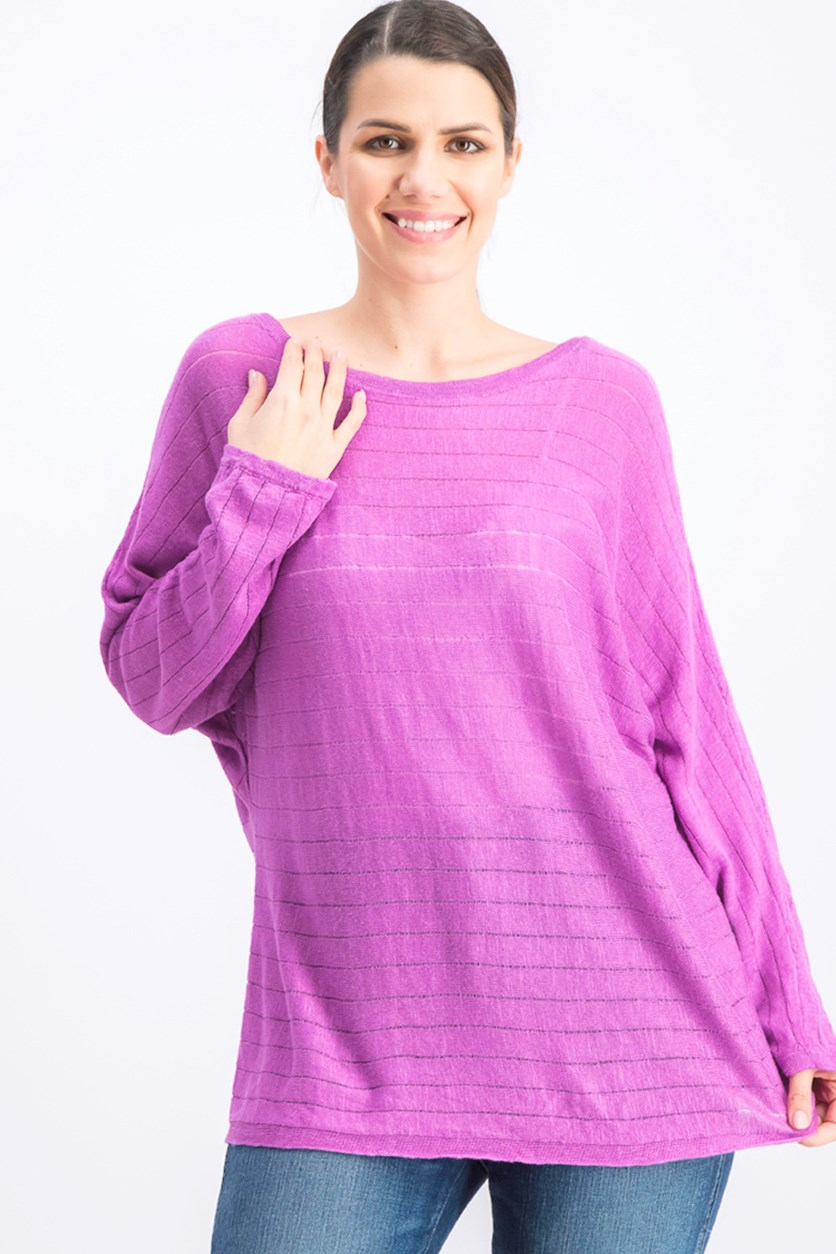 Boat-Neck Dolman-Sleeve Sweater, Orchid Bloom