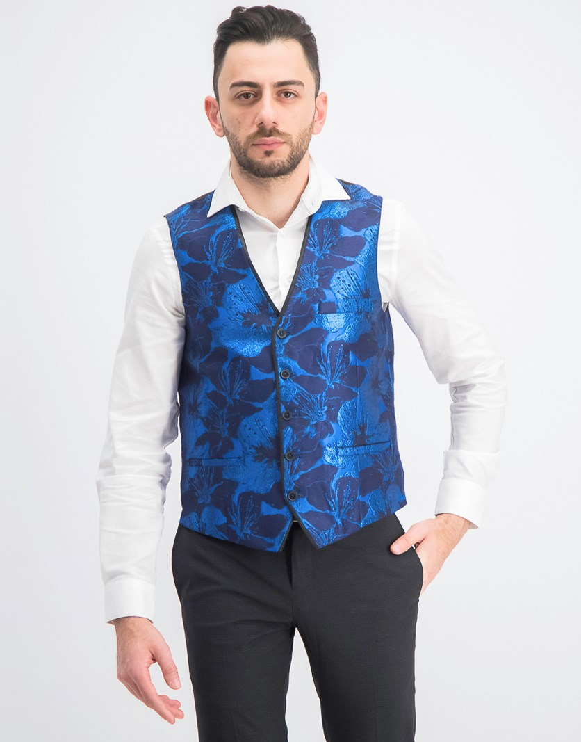 Men's Slim-Fit Floral Jacquard Vest, Blue Combo