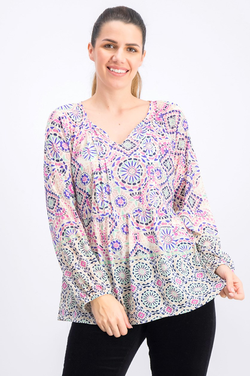 Women's Printed Split Neck Top, Mosaic Tile