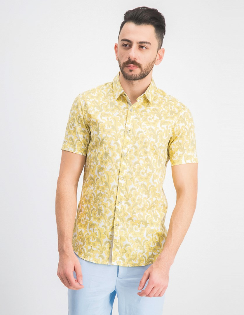 Men's Bacchus Paisley Shirt, Yellow Combo