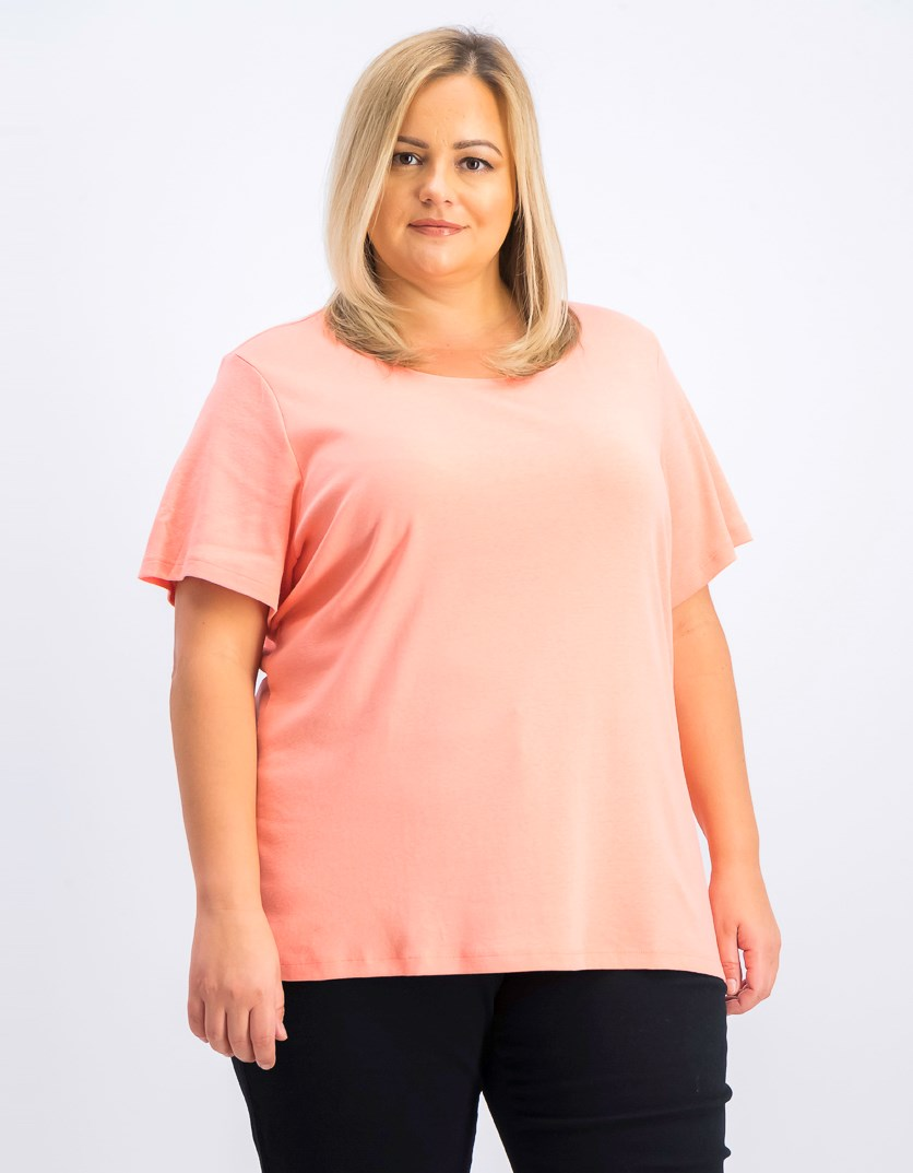 Women's  Plus Size Cotton Scoop-Neck Top, Coral