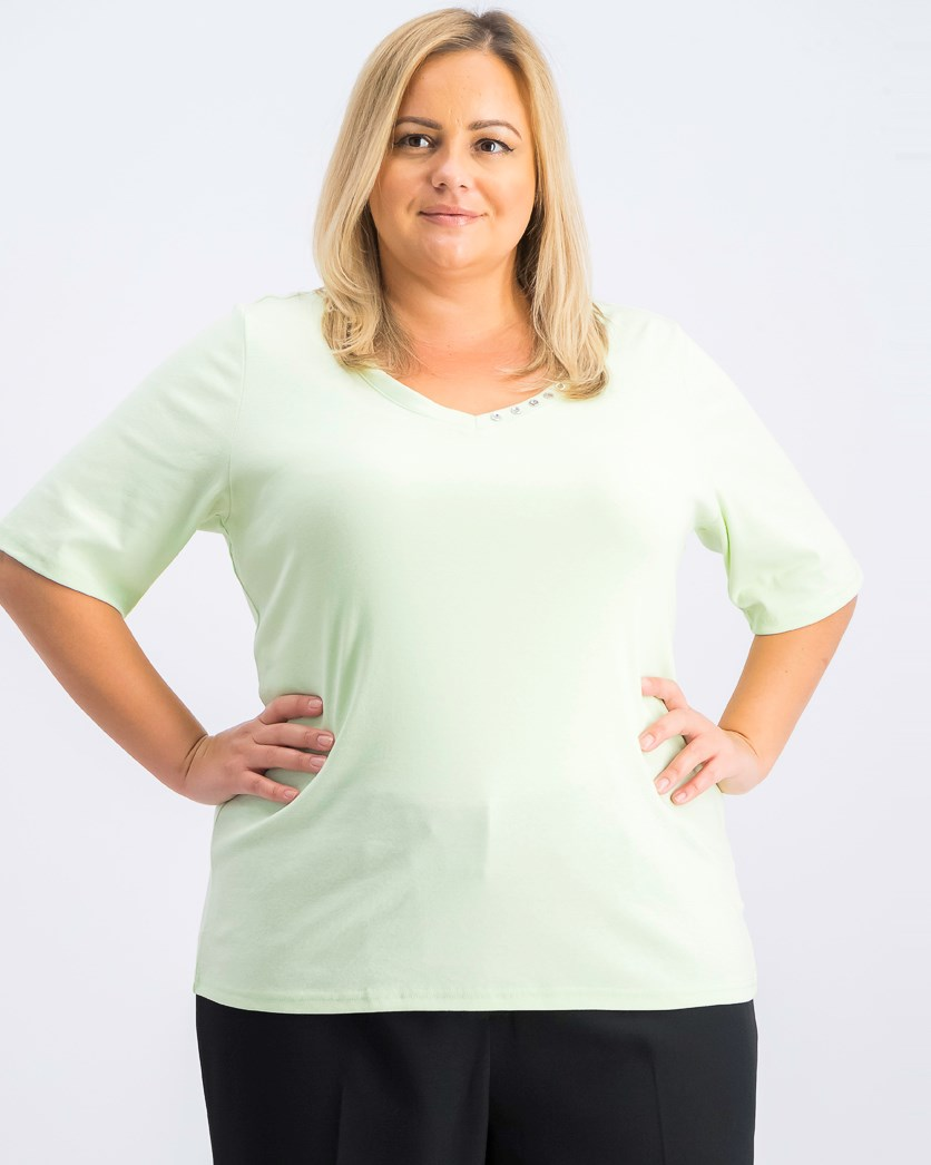Women's Plus Size Cotton V-Neck Top, Calm Aloe