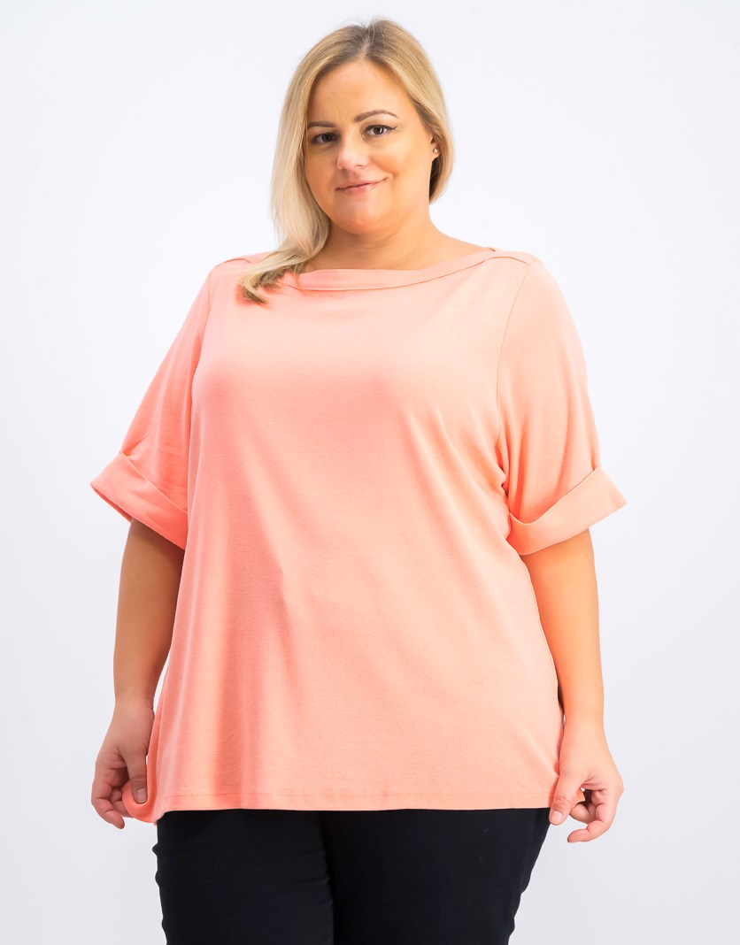 Women's Plus Size Boat Neck Top, Coral Lining