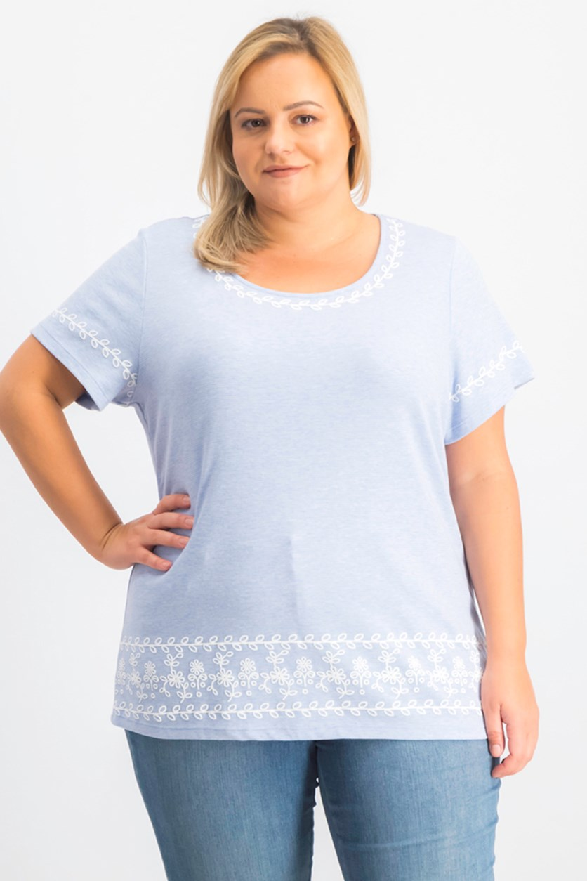 Plus Size Embroidered Striped Top, Light Blue Heather
