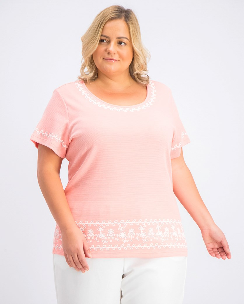 Women's Plus Size Puff Striped Top, Coral Lining