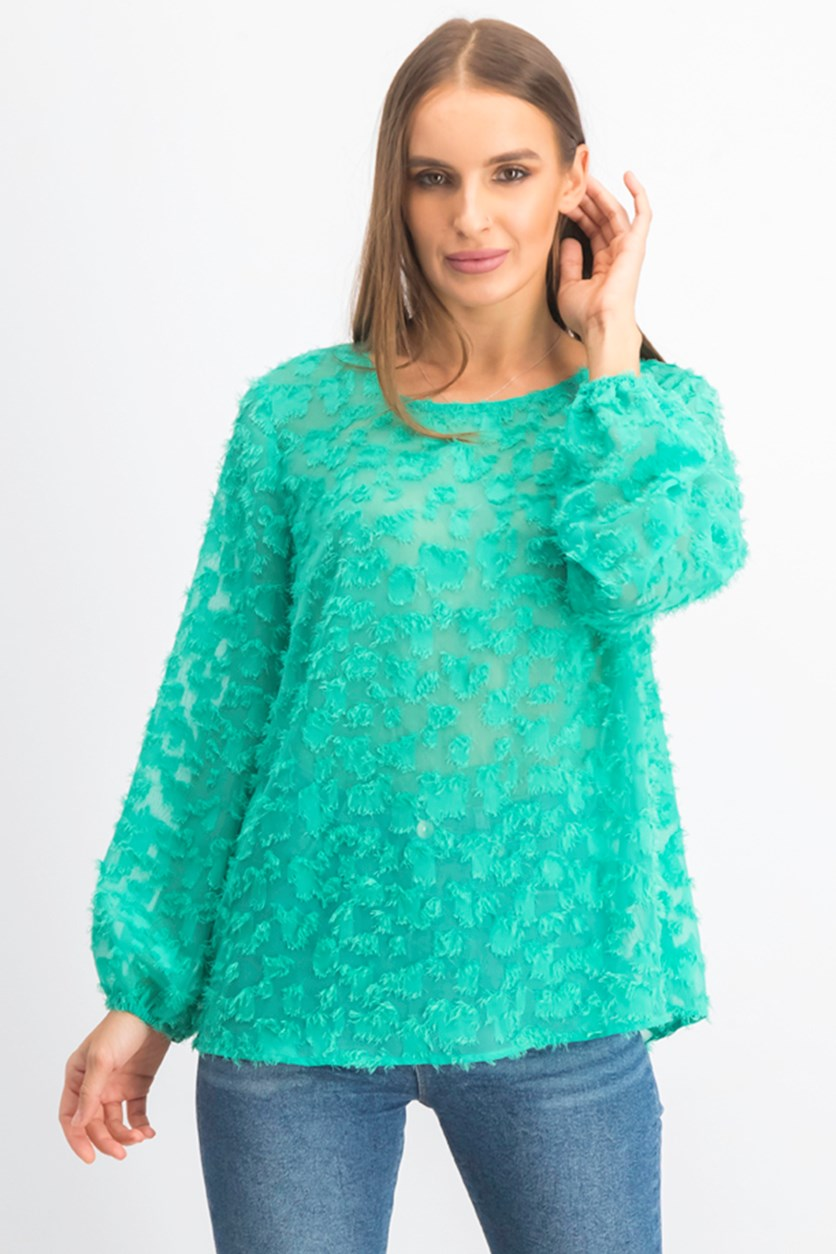 Women's Textured Top, Green