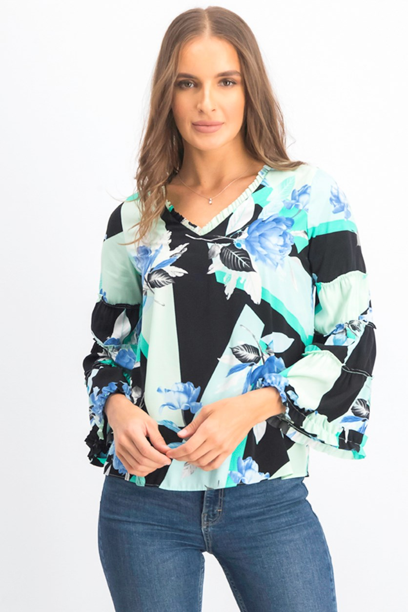 Women's Petite Printed Ruffle-Trim Top, Black Floral Arch
