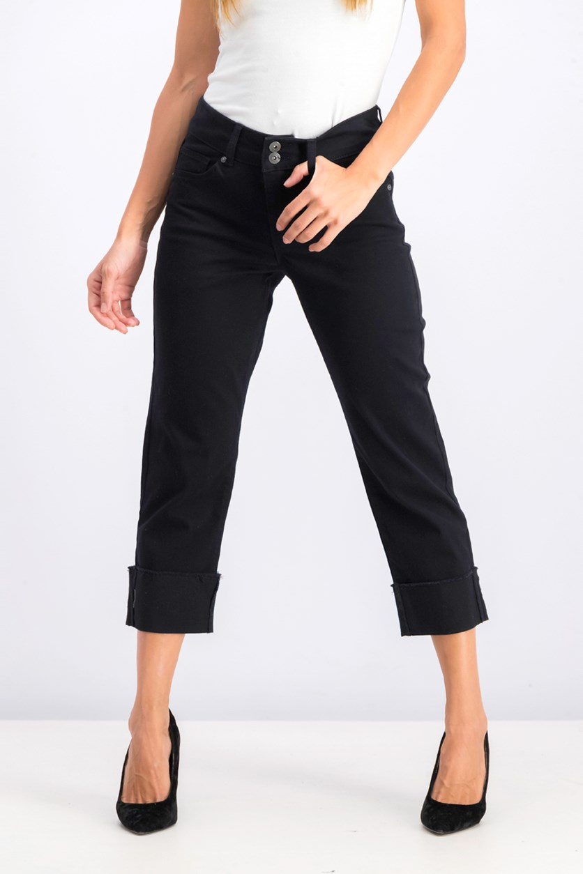High Cuffed Capri Jeans, Black