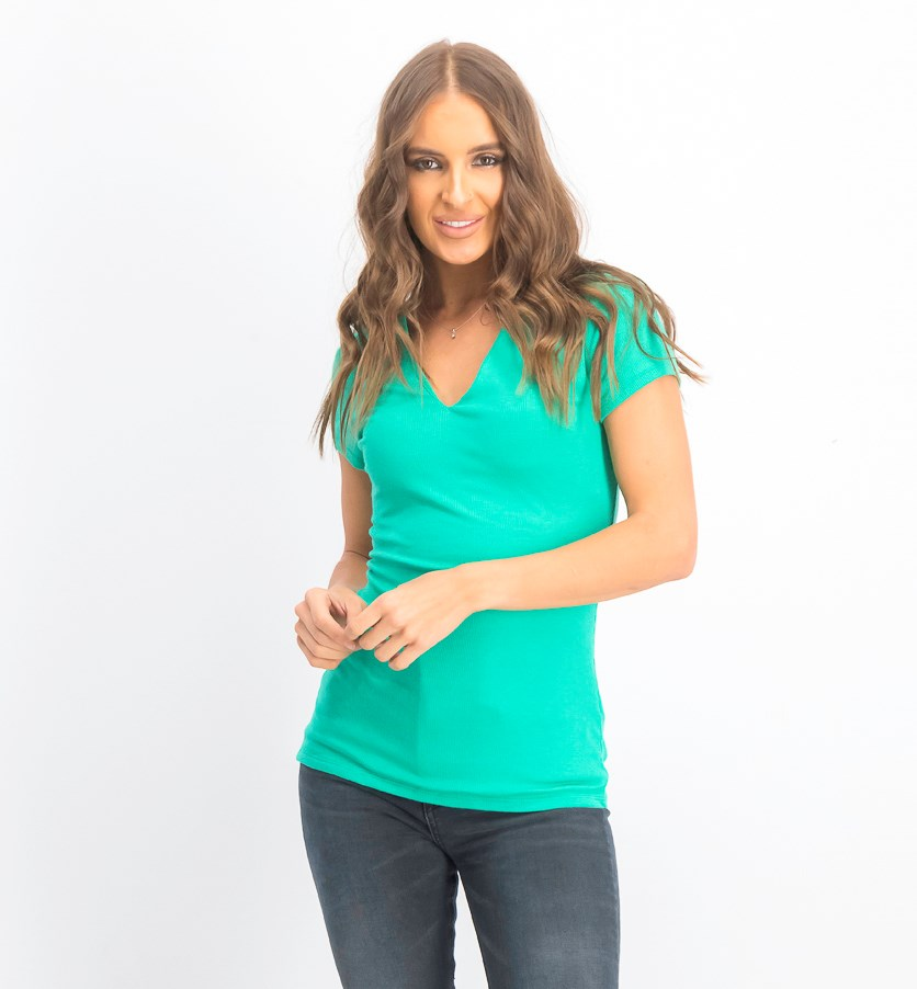 Women's Ribbed V-Neck Top, Emerald Lake