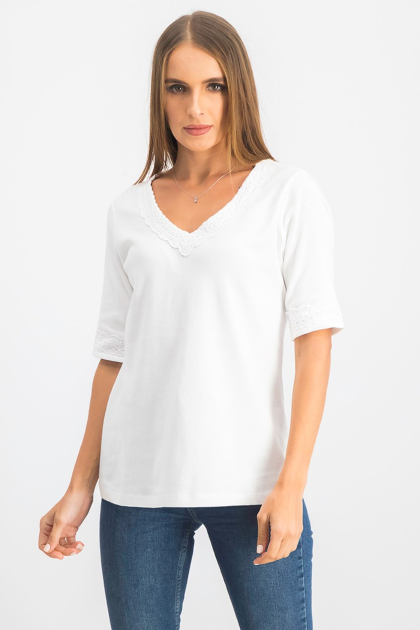 Women's Lace Trim Cotton Top, Bright White