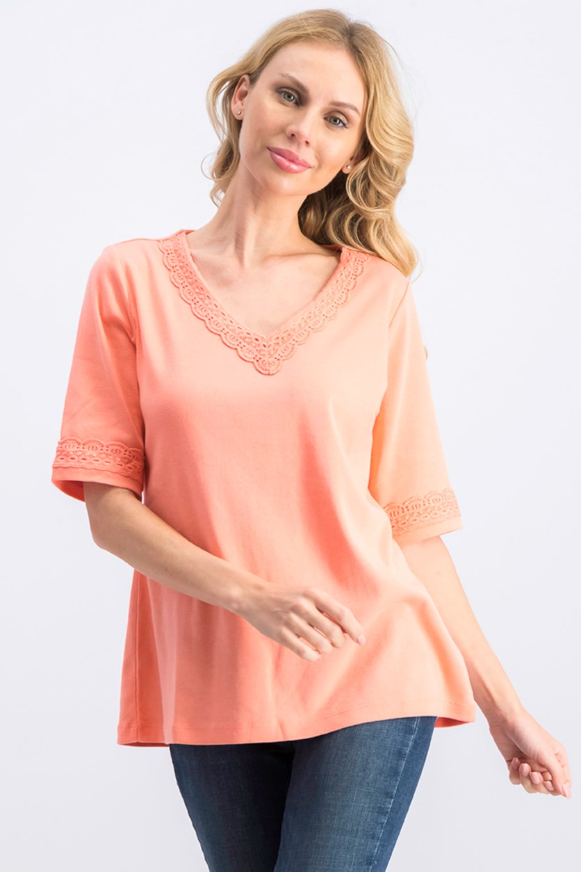 Women's Lace-Trim Cotton Top, Light Orange