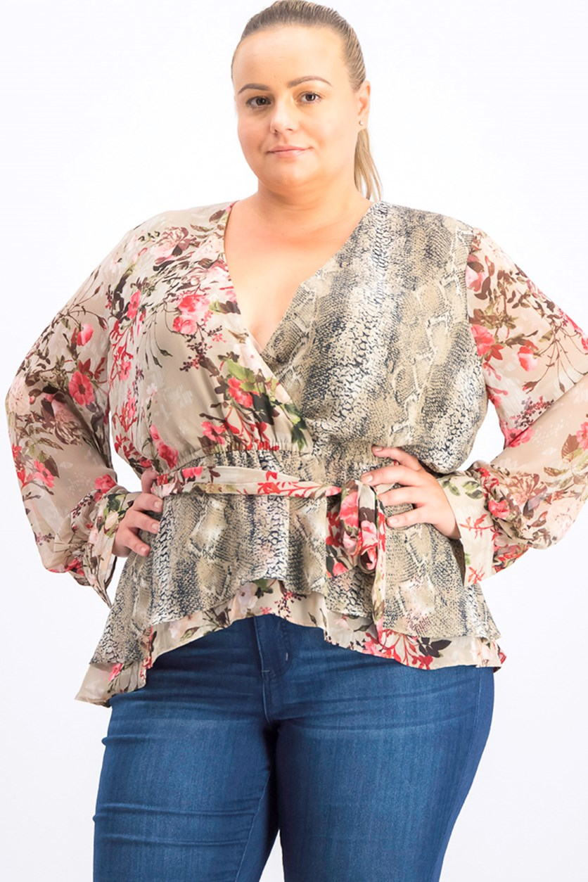 Women's Plus Size Peplum Wrap Top, Brown Combo