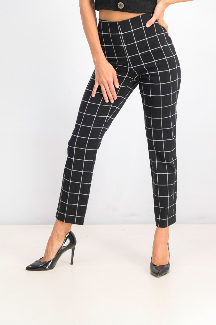 Women's Chelsea Plaid Tummy-Control Ankle Pants, Black/White