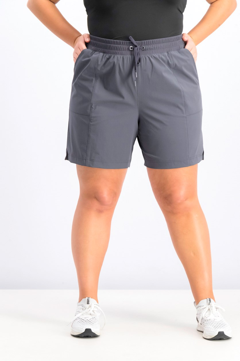 Women's Plus Pull on Fitness Shorts, Deep Charcoal