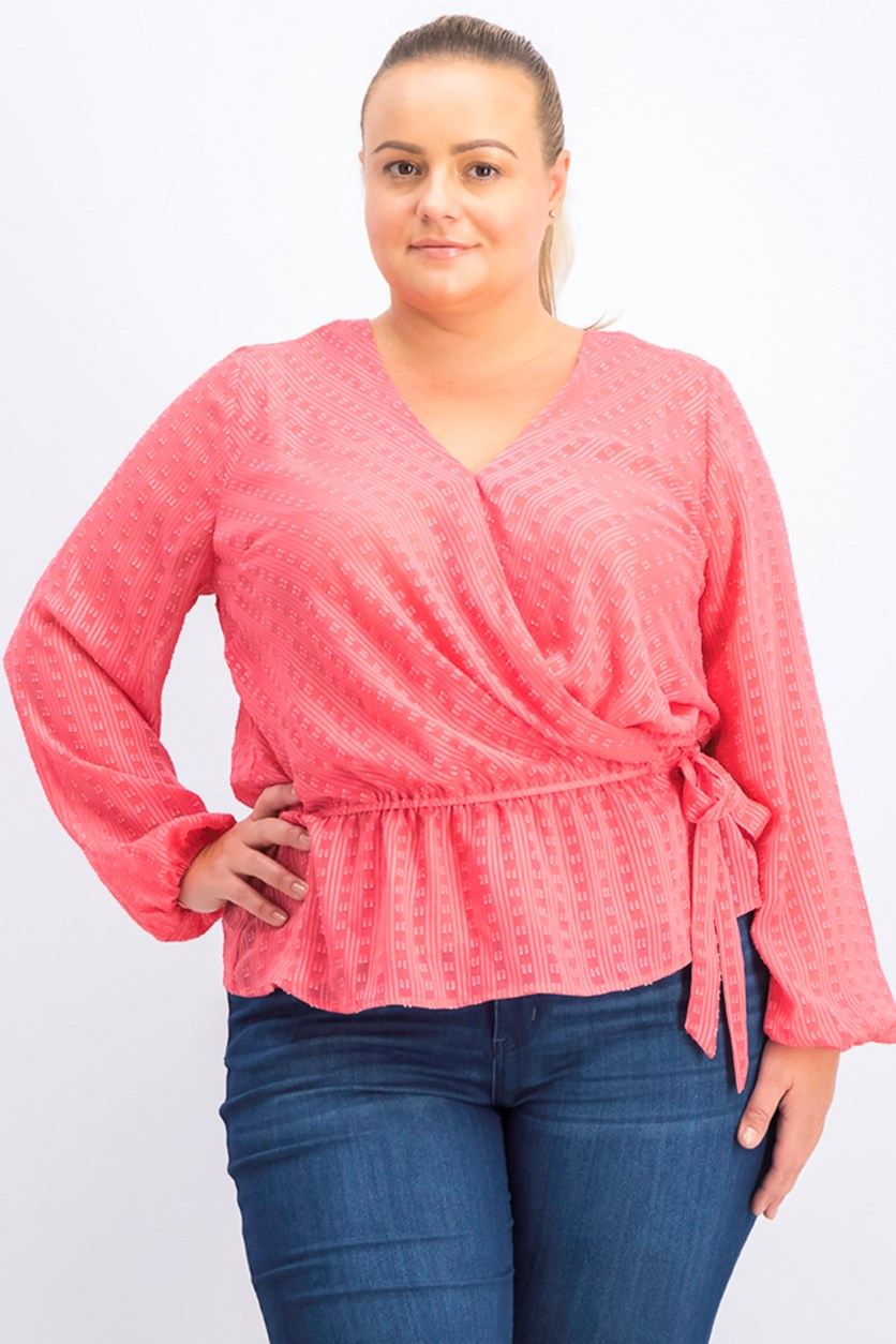 Women Plus Size Textured Blouse, Polished Coral