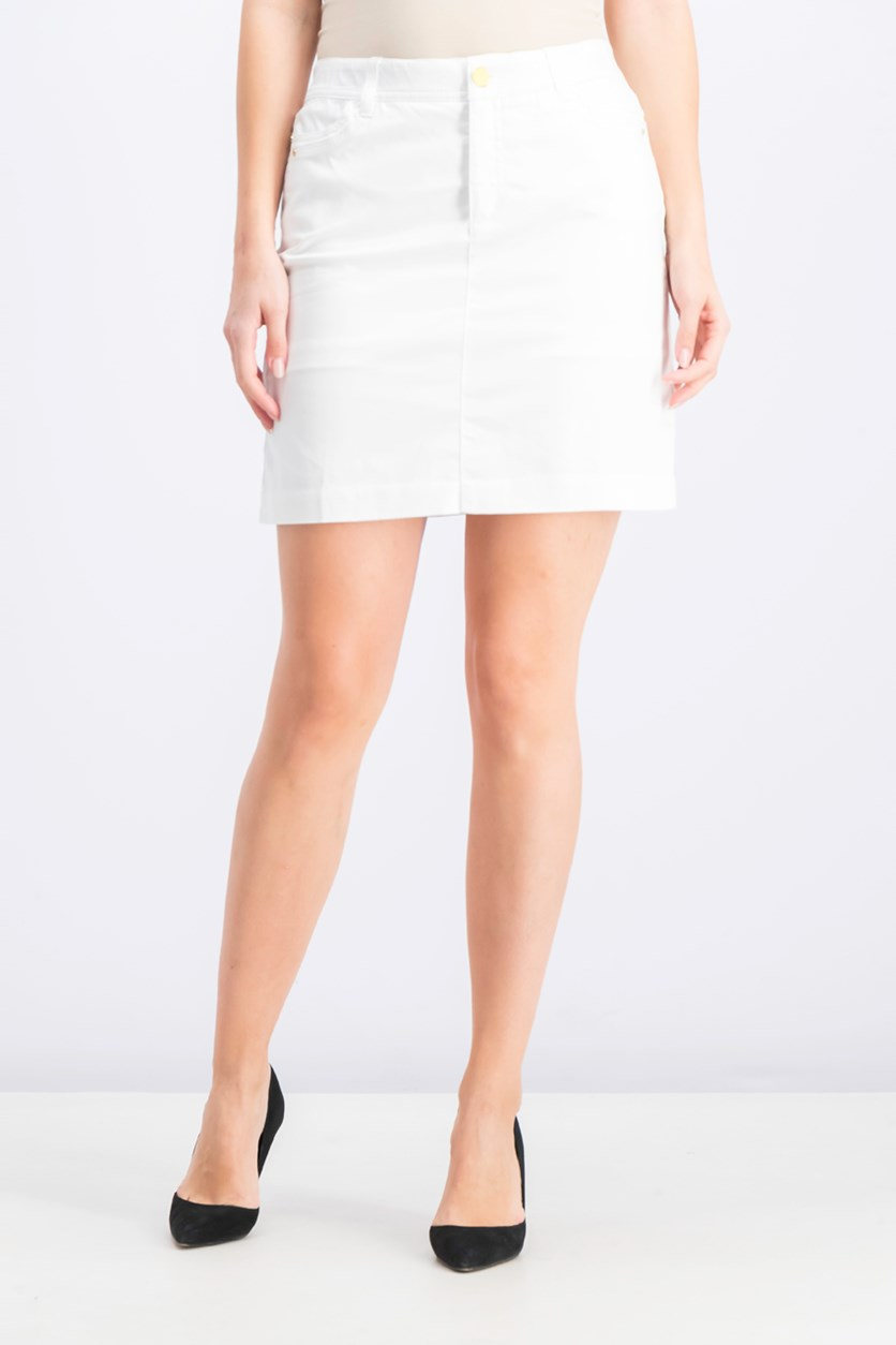 Women's Petite Sateen Skort, Bright White