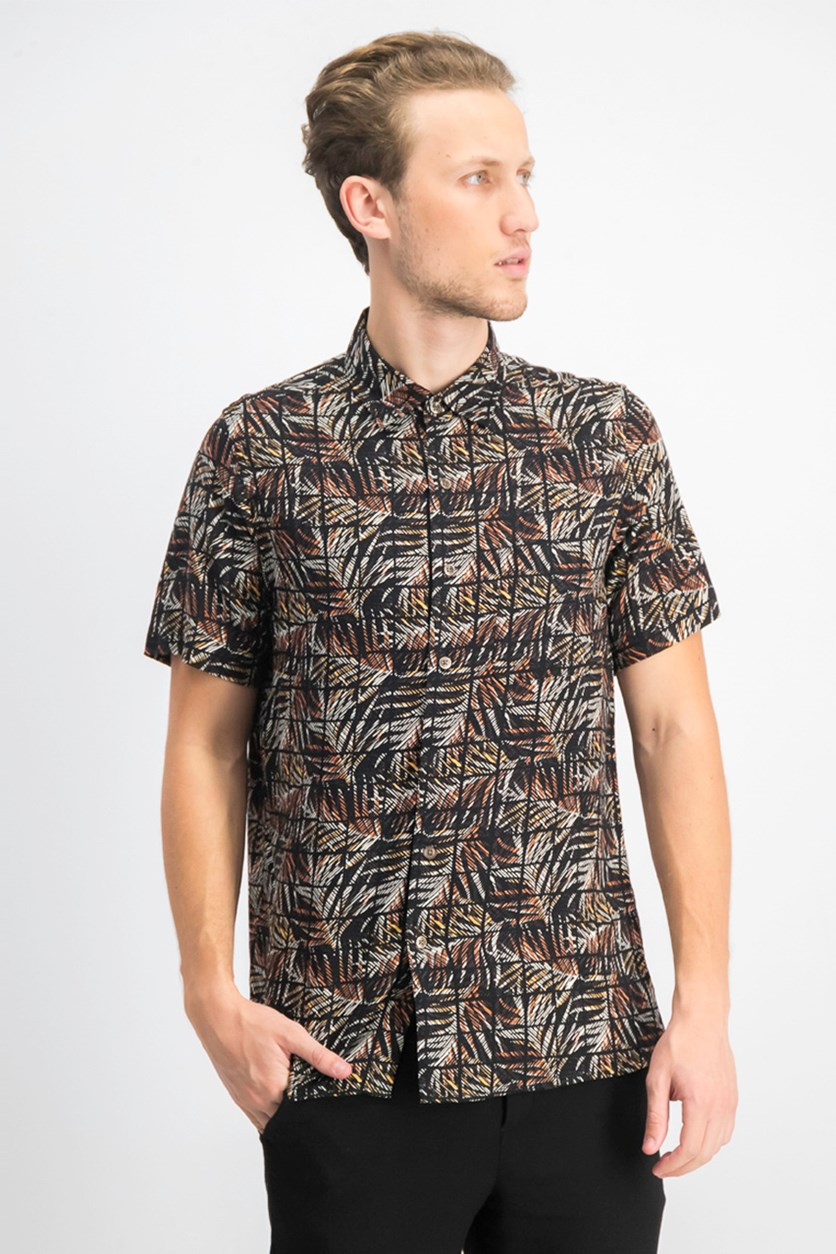 Men's Leaf Grid Silk Shirt, Black Combo
