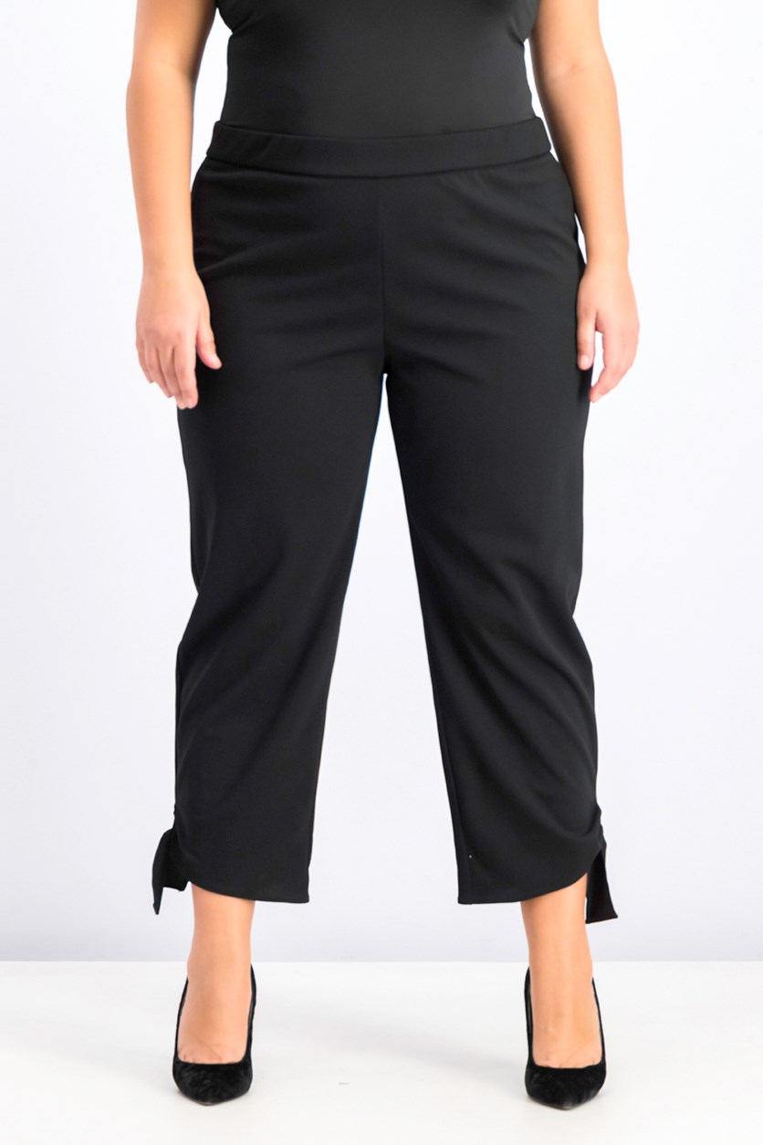 Women's Plus Size Side Tie Ankle Pants, Black