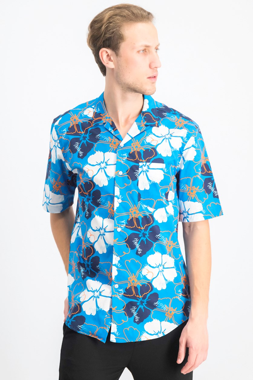 Men's Delancy Floral Graphic Shirt, Calypso Blue