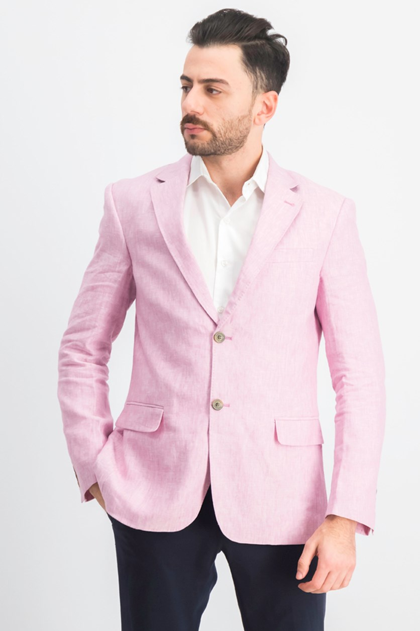 Men's Long Sleeve 2-Button Blazer, Pink