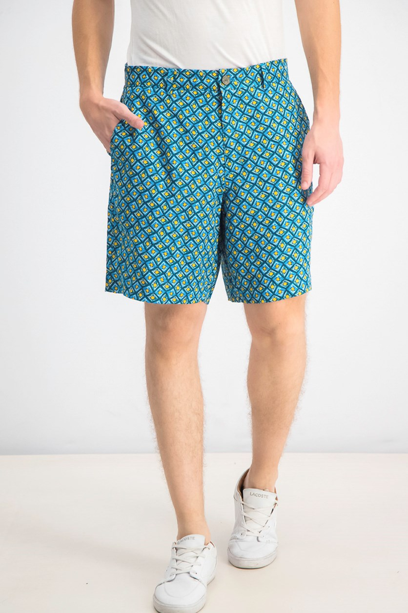 Men's Flat-Front Linen Printed Shorts, Tuscan Mare