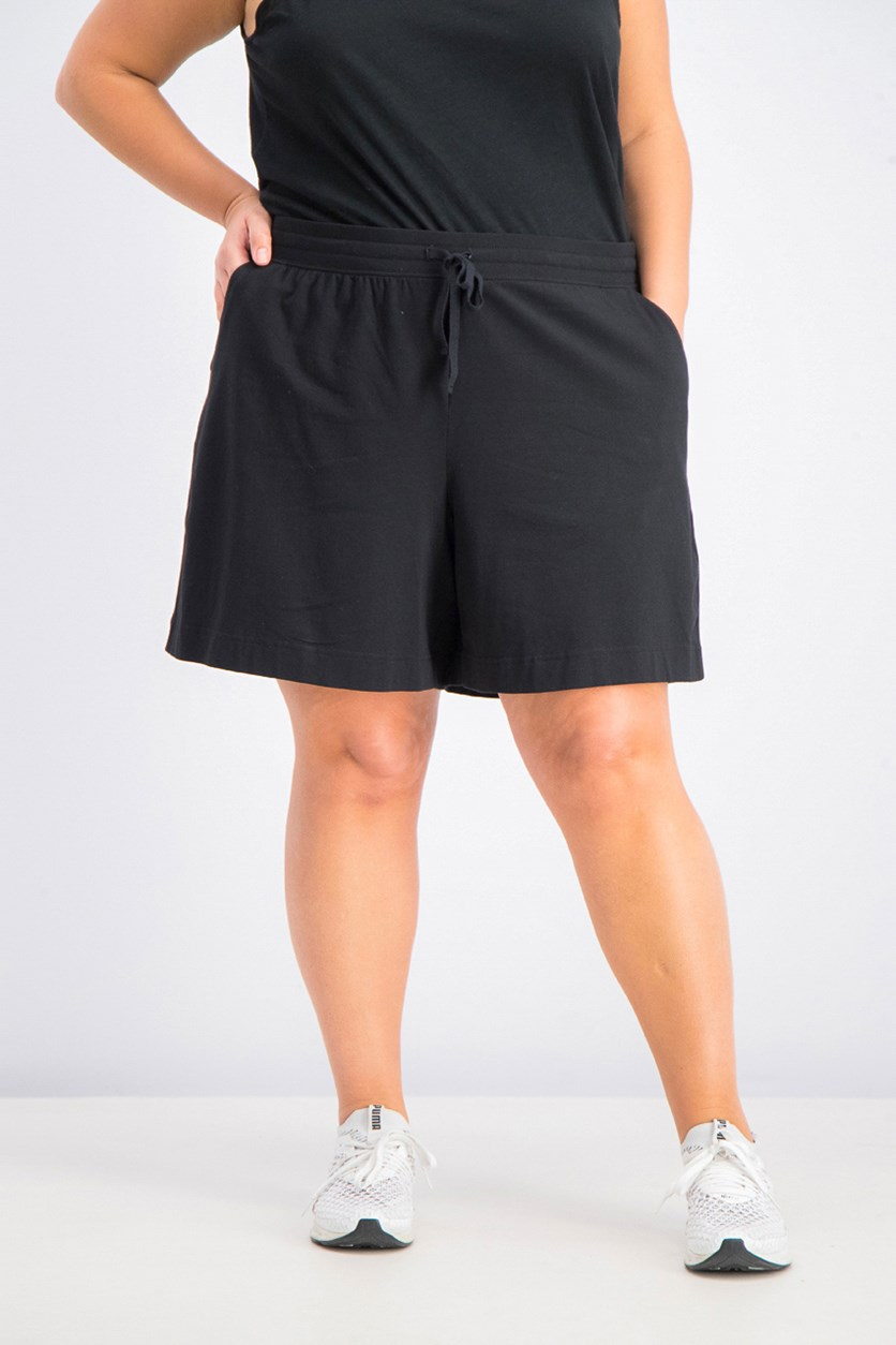 Women's Plus Size Drawstring Shorts, Deep Black