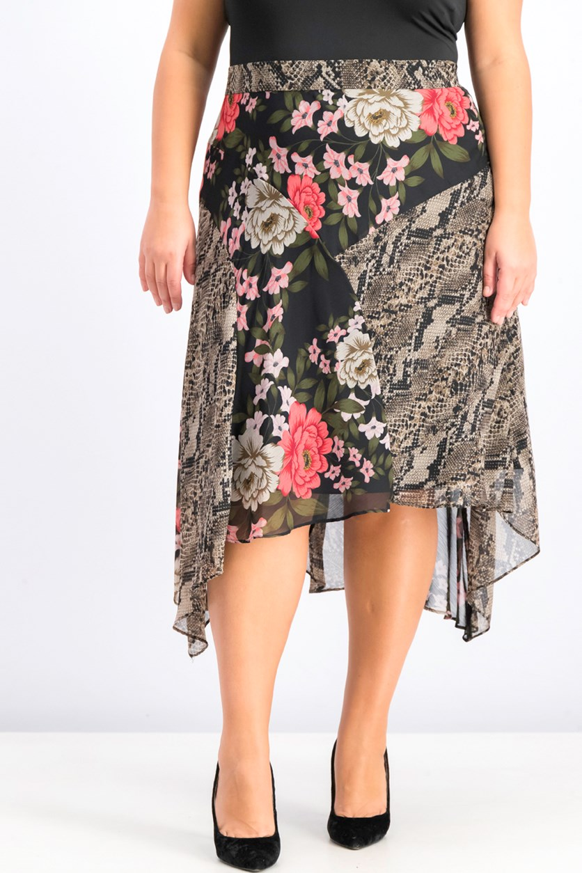Womens Plus Size Mix-Print Floral Midi Skirt, Blossom Snake
