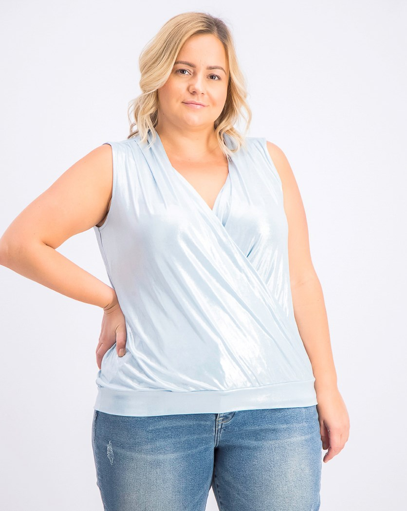 Women's Plus Size Sleeveless Surplice Shine Top, Washed Sky