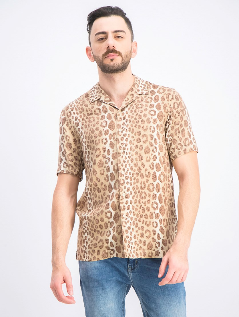 Men's Leopard Graphic Silk Shirt, Khaki Combo