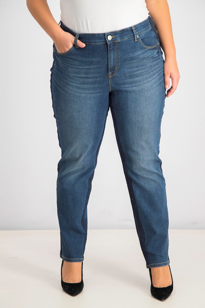 Plus Size Tummy-Control Slim-Leg Two Tone Jeans, Horizon